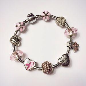 Pink breast cancer awareness hope charm bracelet